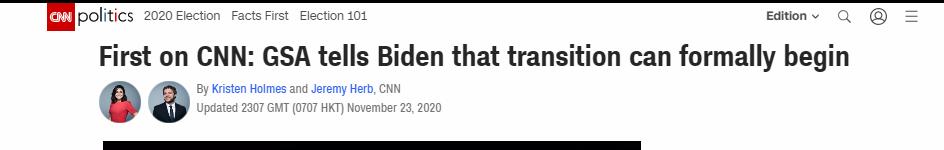 美国总务管理局称拜登的过渡进程可以正式开始,特朗普发推回应